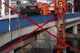 Brückenuntersichtgerät durchgestrichen